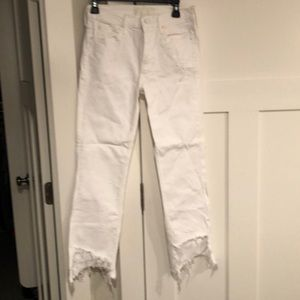 Mother distressed white jeans